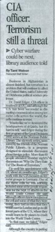Sections of the Norman Transcript article (February 12, 2002).